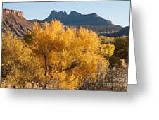 Brilliant Yellow Fall Colors Along The Virgin River Utah Greeting Card by Robert Ford