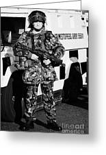 British Army Soldier With Mp5 On Crumlin Road At Ardoyne Shops Belfast 12th July Greeting Card by Joe Fox