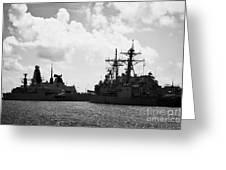 British Brazilian And Us Navy Warships Mole Pier Key West Harbor Florida Usa Greeting Card by Joe Fox