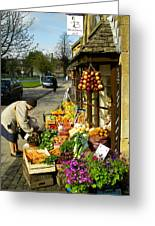 Broadway Deli And Fruit Stand On The Green Broadway Village Cotswold District England Greeting Card by Robert Ford