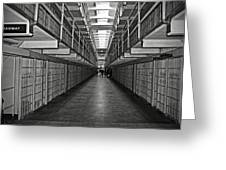 Broadway Walkway In Alcatraz Prison Greeting Card by RicardMN Photography