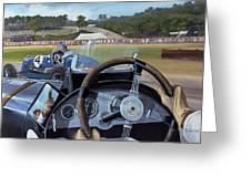 Brooklands - From The Hot Seat Greeting Card by Richard Wheatland