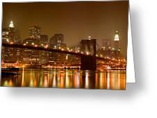 Brooklyn Bridge And Downtown Manhattan Greeting Card by Val Black Russian Tourchin