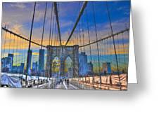 Brooklyn Bridge At Dusk Greeting Card by Randy Aveille