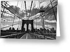 Brooklyn Bridge Greeting Card by Delphimages Photo Creations