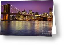 Brooklyn Bridge Greeting Card by Inge Johnsson