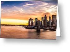 Brooklyn Bridge Panorama At Sunset Greeting Card by Mihai Andritoiu