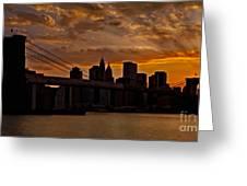 Brooklyn Bridge Sunset Greeting Card by Susan Candelario