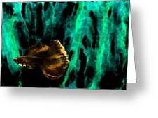 Brown Fish On Green Abstract Greeting Card by Mario  Perez