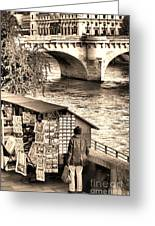Browsing The Outdoor Bookseller  Greeting Card by Olivier Le Queinec