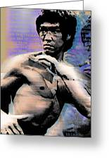 Bruce Lee And Quotes Greeting Card by Tony Rubino