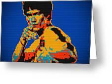 Bruce Lee Lego Pop Art Digital Painting Greeting Card by Georgeta Blanaru