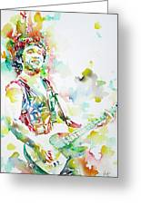 Bruce Springsteen Playing The Guitar Watercolor Portrait.2 Greeting Card by Fabrizio Cassetta