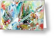 BRUCE SPRINGSTEEN PLAYING the GUITAR WATERCOLOR PORTRAIT.3 Greeting Card by Fabrizio Cassetta