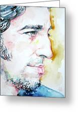 Bruce Springsteen Profile Portrait Greeting Card by Fabrizio Cassetta