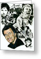 Bruce Springsteen Through The Years Greeting Card by Ken Branch