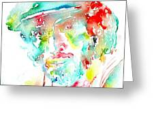BRUCE SPRINGSTEEN WATERCOLOR PORTRAIT Greeting Card by Fabrizio Cassetta