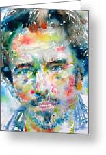Bruce Springsteen Watercolor Portrait.1 Greeting Card by Fabrizio Cassetta