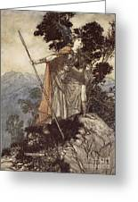 Brunnhilde From The Rhinegold And The Valkyrie Greeting Card by Arthur Rackham