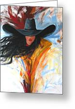 Brushstroke Cowgirl Greeting Card by Lance Headlee