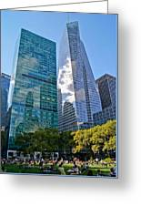 Bryant Park And Architecture Greeting Card by Dawn Williams