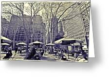 Bryant Park Greeting Card by Tony Ambrosio
