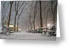Bryant Park - Winter Snow Wonderland - Greeting Card by Vivienne Gucwa