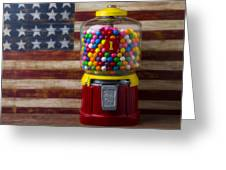 Bubblegum Machine And American Flag Greeting Card by Garry Gay