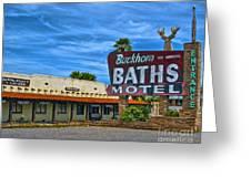 Buckhorn Baths Motel Greeting Card by Brian Lambert