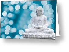 Buddha Enlightenment Blue Greeting Card by Hannes Cmarits