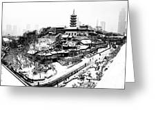 Buddha - Jiming Temple in the Snow - Black-and-White version  Greeting Card by Dean Harte