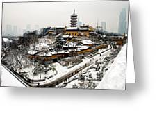 Buddha - Jiming Temple In The Snow - Colour Version  Greeting Card by Dean Harte