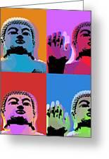 Buddha Pop Art - 4 Panels Greeting Card by Jean luc Comperat