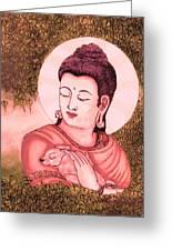Buddha Red  Greeting Card by Loganathan E