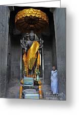 Buddha Statue At Angkor Wat Greeting Card by Sami Sarkis