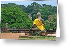 Buddha Statue Wearing A Yellow Sash Greeting Card by Sami Sarkis