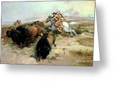 Buffalo Hunt Greeting Card by Charles Marion Russell