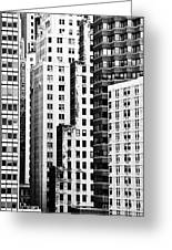 Buildings Bw Greeting Card by Bruce Bain