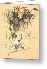 Bull And Dog In Field Greeting Card by Cecil Charles Windsor Aldin