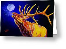 Bull Moon Greeting Card by Teshia Art