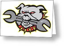 Bulldog Dog Spanner Head Mascot Greeting Card by Aloysius Patrimonio