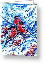 Bullfinches Greeting Card by Zaira Dzhaubaeva