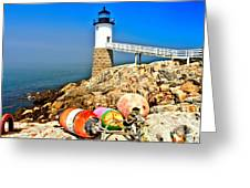 Buoys At The Headlight Greeting Card by Adam Jewell