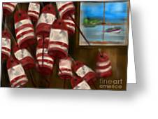 Buoys With A View Greeting Card by Christine Fournier