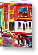 Burano Italy Side Street Sold Original Greeting Card by Therese Fowler-Bailey