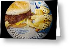 Burger And Fries Baseball Square Greeting Card by Andee Design