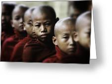 Burma Monks 2 Greeting Card by David Longstreath