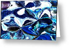 Bursts Of Blue And White - Abstract Art Greeting Card by Carol Groenen