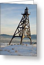 Butte Headframe Greeting Card by Fran Riley