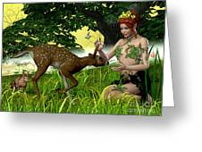 Buttercup Fairy And Forest Friends Greeting Card by Corey Ford